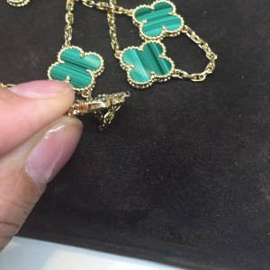 Van Cleef & Arpels 18K Yellow Gold & Malachite 20 Motifs Alhambra Necklace