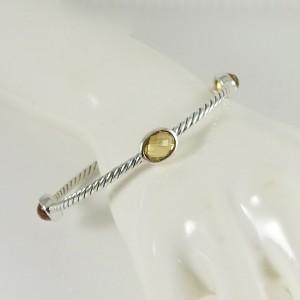 David Yurman Sterling Silver Citrine Four Stone Color Classics Bangle Bracelet