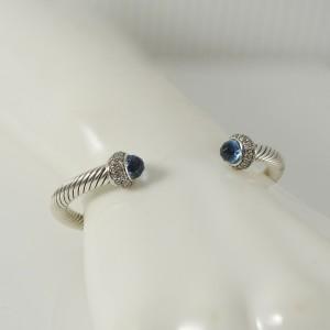 David Yurman Sterling  Silver .58tcw 5mm Blue Topaz Diamotnd Cable Candy Bracelet