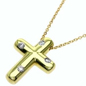 TIFFANY & Co. 18k Yellow Gold Diamond Dots Cross Necklace