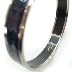 Hermes Silver Tone Metal and Enamel Caleche Bangle Bracelet