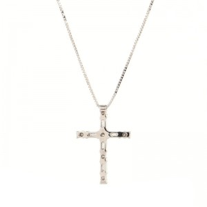 Damiani Cross Pendant Necklace 18K White Gold and Diamonds