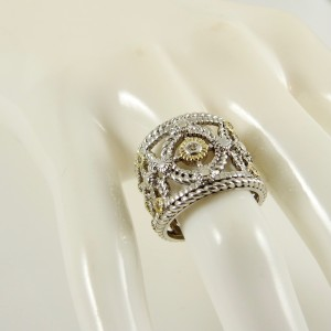 Judith Ripka Two Sterling Silver 18K Yellow Gold Wide Garland Ring with Diamond Accent