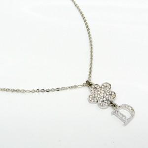 Christian Dior Metal Flower Pendant Necklace
