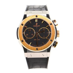 Hublot Classic Fusion Aerofusion Chronograph Skeleton Automatic Watch Titanium and Rose Gold with Alligator and Rubber 45