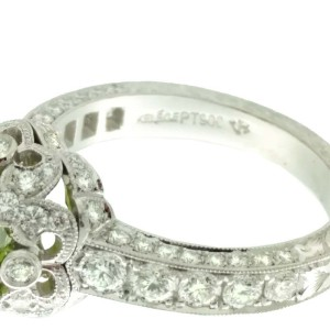 Jack Kelege Platinum Peridot 1.25ctw Diamond Ring Size 6.5