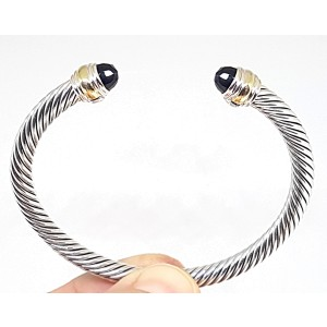 David Yurman Cable Classic Sterling Silver & 14K Yellow Gold with Black Onyx Bracelet