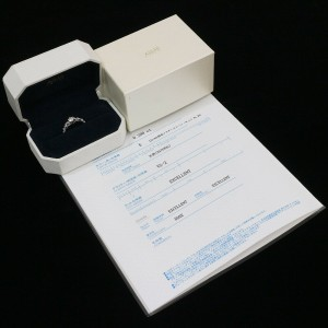 AHKAH 0.288ct & 0.20ct Diamonds Ring Platinum 900 US4.25 w/Box,Cert