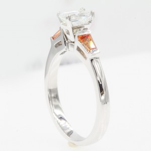 14K White Gold with 0.60ct Emerald Cut Diamond & Orange Sapphire 3 Stone Engagement Ring Size 6