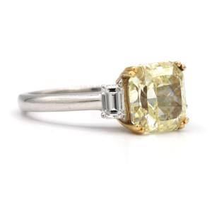 Platinum Ring Yellow and White Diamonds Ring Size 6