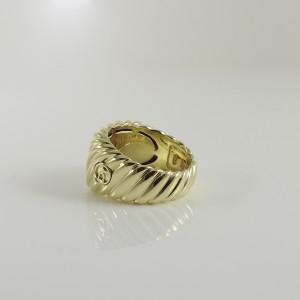 David Yurman 18K Yellow Gold Sculpted Cable Cigar Band Ring Size 7.75