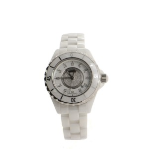 Chanel J12 Pave Quartz Watch Ceramic and Stainless Steel with Diamond Indicators 29