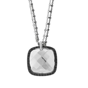 Alor 18K White Gold double CHAIN w. White Gold FACET CENTer Necklace