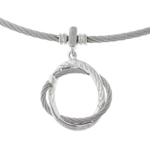 Alor 18K White Gold/Stainless steel & Stainless steel Cable Necklace