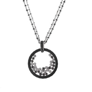 Alor 18K White Gold/Stainless steel & Black PVD, 0.24CT WHT, Necklace