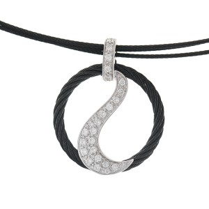 Alor 18K White Gold/Stainless steel & Black PVD THIN Cable Necklace