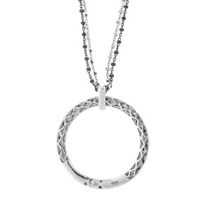 Alor 18K White Gold/Stainless steel, 18K GOLD CHAIN, 0.08CT Necklace