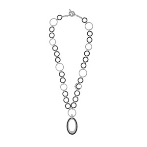 Alor 18K White Gold & Stainless steel & Black PVD Necklace