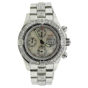 Breitling Superocean Stainless Steel & Diamond Mens Watch
