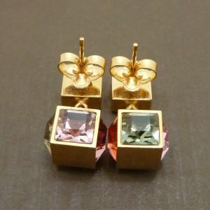 LOUIS VUITTON Gold Tone Gamble Earrings M66827