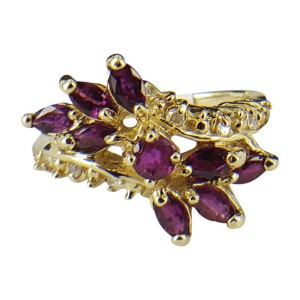 14K Yellow Gold Rubies and Diamond Cocktail Ring Size 7