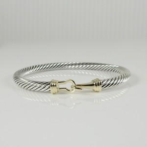 Description:  David Yurman Sterling Silver 14K Yellow Gold 5mm Buckle Bracelet