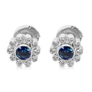 Tiffany & Co. Vintage Sapphire & Diamond Flower Earrings