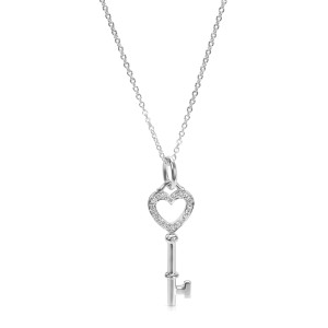 Tiffany & Co. Heart Key Charm in 18KT White Gold 0.05 ctw