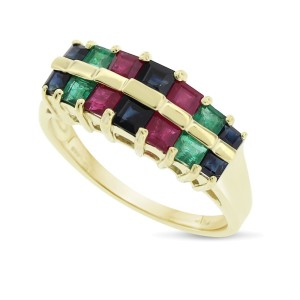14k Yellow Gold 2.00ct. Two Row Emerald, Ruby & Sapphire Band Size 7.5