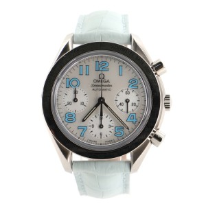 Omega Speedmaster Reduced Chronograph Automatic Watch Watch Stainless Steel and Alligator with Mother of Pearl 39