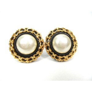 Chanel Gold Tone Hardware Leather and Simulated Glass Pearl Button Vintage Earrings