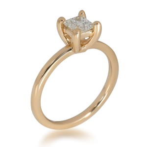 GIA Certified Princess Diamond Engagement Ring in 14K Yellow Gold J I1 0.63 ct