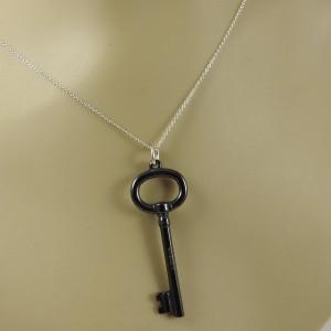 "Tiffany & Co. Sterling Silver Black Titanium Key on 20"" Sterling Silver Chain"