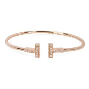 Tiffany & Co. T Wire Diamond Bangle in 18K Yellow Gold 0.23CTW