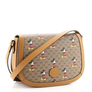 Gucci Disney Mickey Mouse Flap Shoulder Bag Printed Mini GG Coated Canvas Small