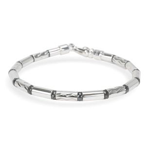 Tiffany & Co. Vintage Zig-Zag Hematite Barrel Bead Bracelet in Sterling Silver