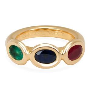 Chaumet Three Stone Sapphire, Emerald & Ruby Gemstone Ring in 18K Yellow Gold