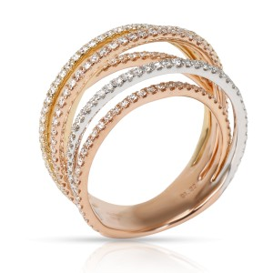6 Row Crossover Diamond Ring in 18K 3 Tone Gold (1.22 CTW)