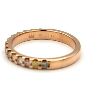 18K Rose Gold 0.52ctw Round Multicolored Diamonds Ring Size 6.25