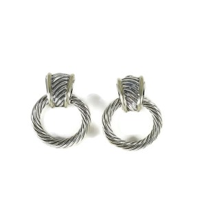 David Yurman Sterling Silver & 14K Yellow Gold Thoroughbred Cable Doorknocker Earrings