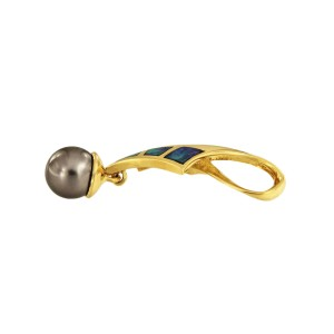 18K Yellow Gold with Cultured Tahitian Pearl, Opal and 0.1ctw Diamond Pendant