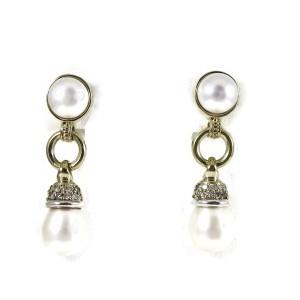 Lagos Sterling Silver 18K Yellow Gold .39tcw Circle Game Pearl Drop Diamond Earrings