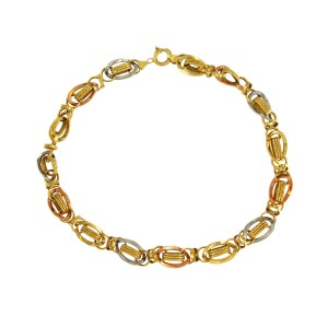 14K Yellow, Rose & White Gold Chain Necklace