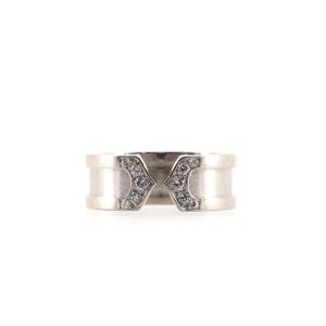 Cartier C de Cartier Ring 18K White Gold with Diamonds 6.5mm