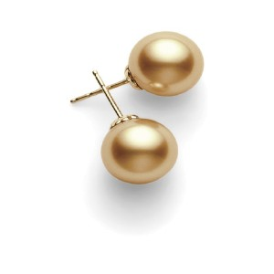 Mikimoto 18K Yellow Gold South Sea Pearl Studs Earrings