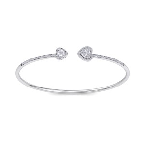GLAM ® Bangle with Hearts in 14K Gold and 0.56ct White Diamonds