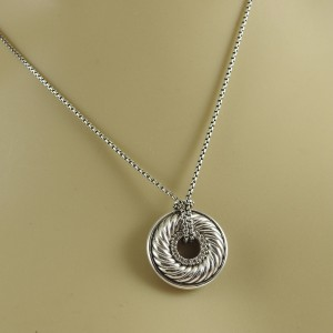 """David Yurman Sterling Silver 18"""" .13tcw Small Diamond Sculpted Cable Disc Necklace"""