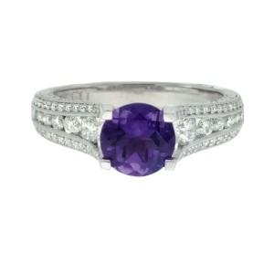 Tacori 18K White Gold Amethyst 0.71ctw Diamond Ring Size 6.5