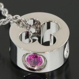 Louis Vuitton White Gold  Pink Sapphire Empreinte Pendant Necklace