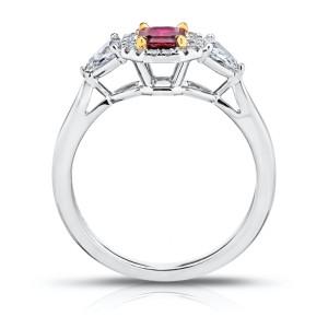 Platinum 18K Yellow Gold 0.59ct. Ruby 0.49ctw. Diamond Ring Size 7